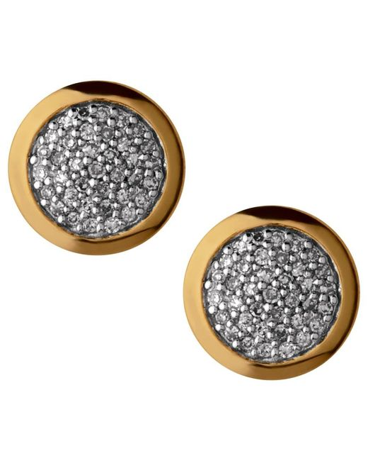 Links of London | Metallic Diamond Essentials 18ct Gold Vermeil Diamond Pave Round Stud Earrings | Lyst