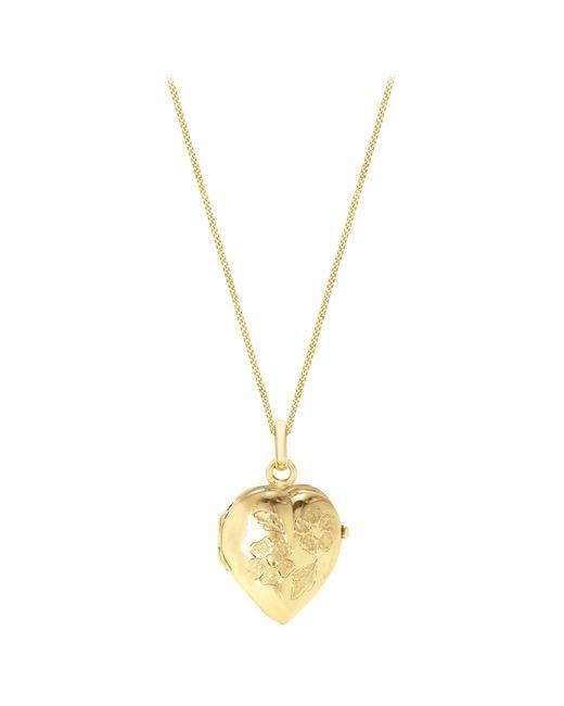 John Lewis - Metallic Ibb 9ct Yellow Gold Heart Daisy Locket Curb Chain Necklace - Lyst