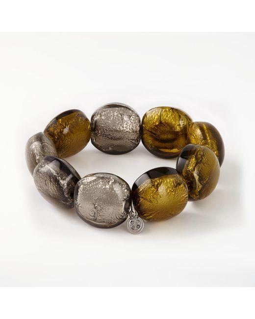 One Button | Metallic Bead Chunky Bead Bracelet | Lyst