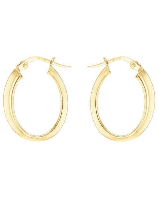 Ib&b - Metallic 9ct Yellow Gold Polished Oval Creole Earrings - Lyst