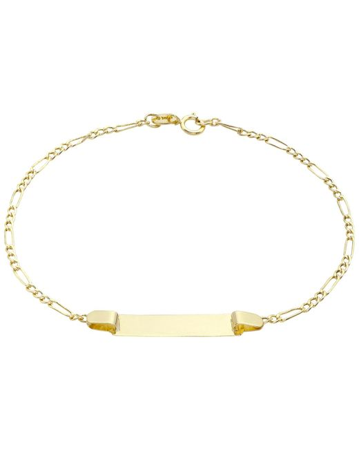 Ib&b | Metallic 9ct Gold Hollow Figaro Id Bracelet | Lyst