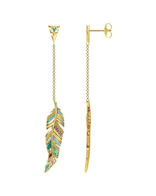 Thomas Sabo - Multicolor 18ct Gold Vermeil Tropical Long Feather Earrings - Lyst
