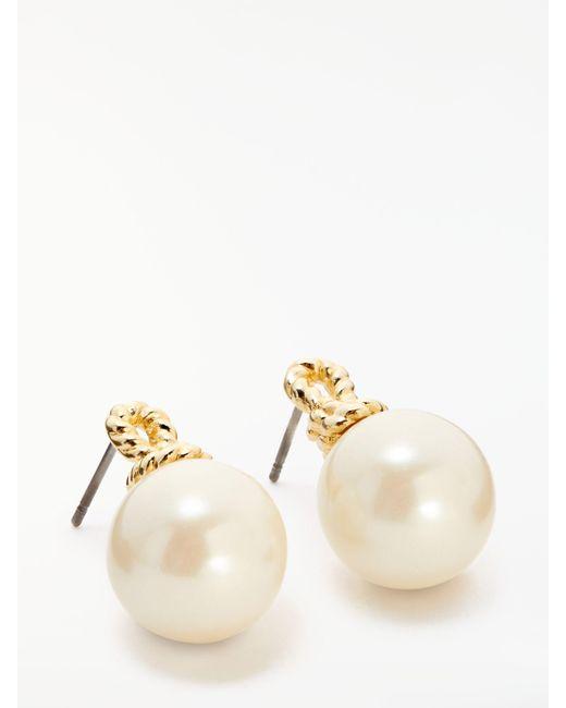 Kate Spade - Metallic Pearl Drop Stud Earrings - Lyst