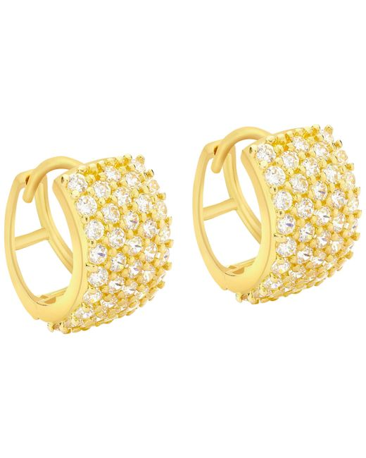Ib&b - Metallic 9ct Yellow Gold 5 Row Cubic Zirconia Huggy Earrings - Lyst