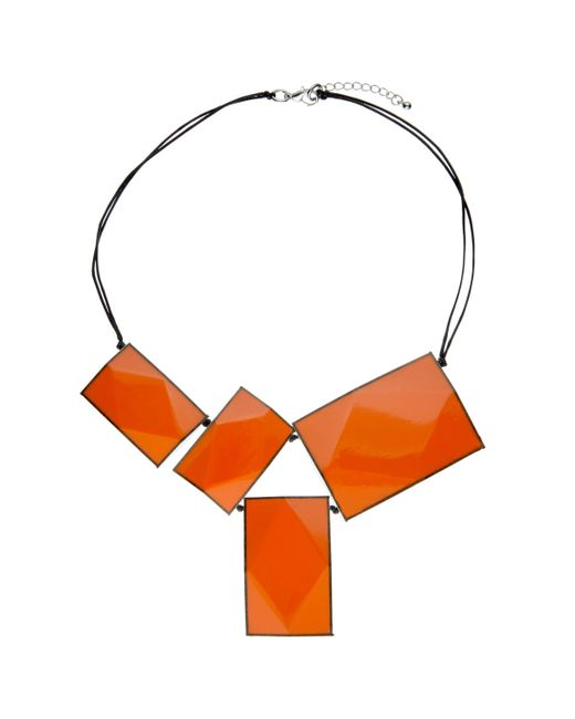 One Button - Orange 4 Large Rectangular Facets Necklace - Lyst