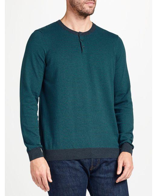 John Lewis - Green Cotton Cashmere Stripe Henley Jumper for Men - Lyst