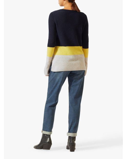 3fdccca437 Jigsaw Colour Block Stripe Jumper in Yellow - Save 13% - Lyst