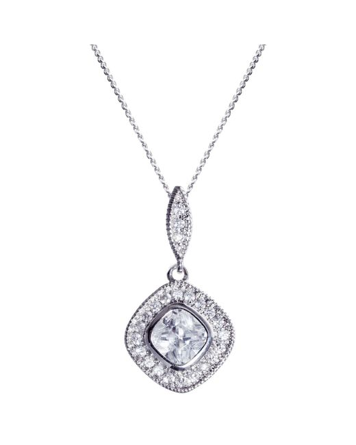 Ivory & Co. | Metallic Regent Square Cubic Zirconia Pave Pendant Necklace | Lyst