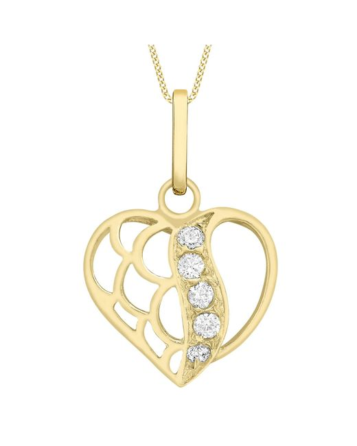 Ib&b | Metallic 9ct Gold Cubic Zirconia Open Heart Pendant | Lyst