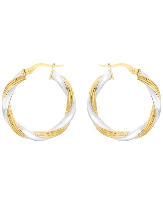 Ib&b | Metallic 9ct Gold Two Colour Creole Twist Earrings | Lyst