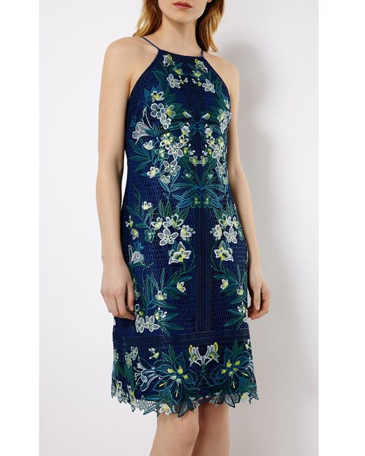 Karen millen tropical embroidered lace dress in blue