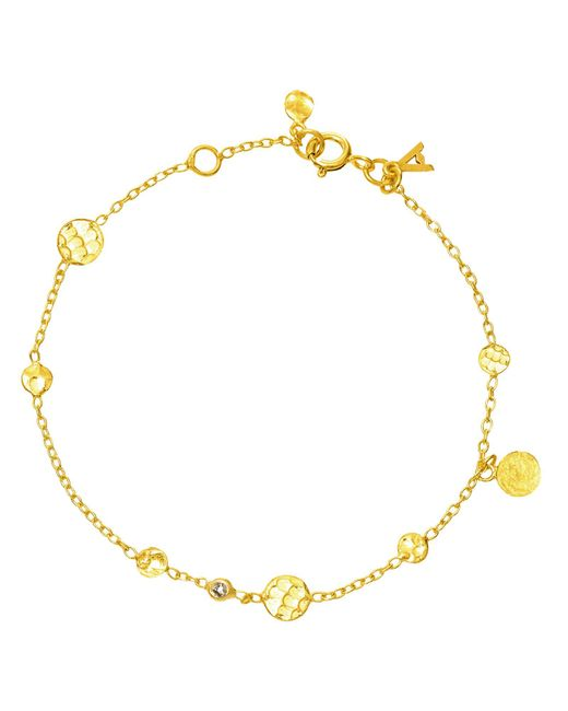 Auren | Metallic 18ct Gold Vermeil Small Hammered Disc And Diamond Drop Bracelet | Lyst