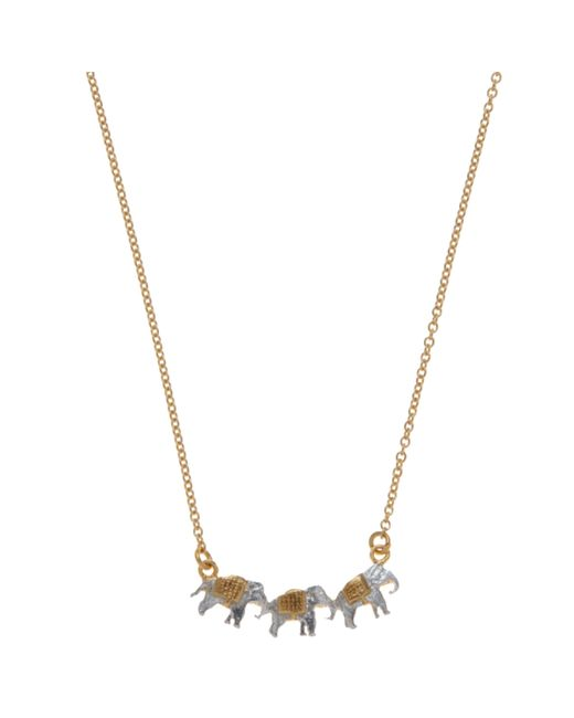 Alex Monroe - Metallic 22ct Gold Vermeil Elephant Trio Necklace - Lyst