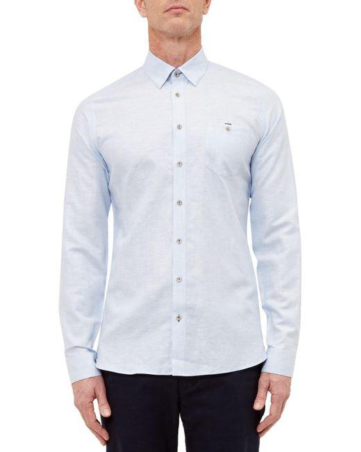 Ted Baker | Blue T For Tall Laava Long Sleeve Shirt for Men | Lyst