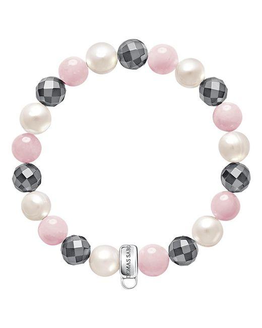 Thomas Sabo   Gray Charm Club Freshwater Pearl And Quartz Bracelet   Lyst