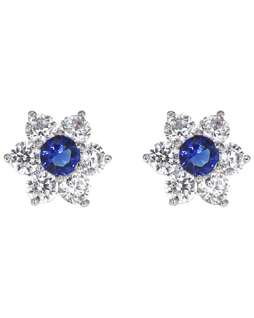 Ib&b - Metallic 9ct White Gold Flower Cubic Zirconia Stud Earrings - Lyst
