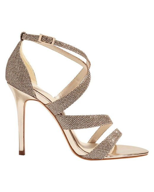 Karen Millen - Metallic Glitter Strappy Stiletto Heel Sandals - Lyst
