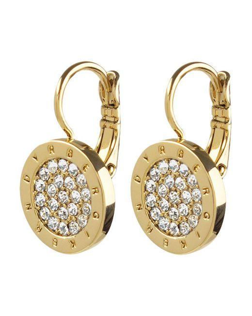 Dyrberg/Kern - Metallic Avelon Swarovski Crystal Round French Hook Logo Drop Earrings - Lyst