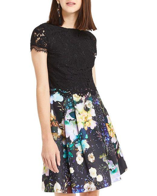 Oasis | Black 2 In 1 Digital Floral Dress | Lyst
