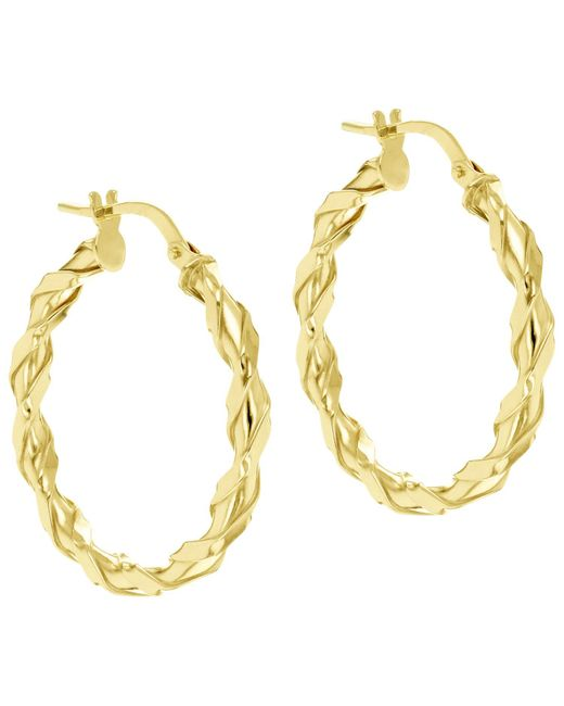 Ib&b | Metallic 9ct Gold Twist Creole Earrings | Lyst