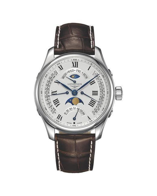 Longines | Multicolor L27394713 Men's Master Collection Automatic Chronograph Day Date Moonphase Alligator Leather Strap Watch for Men | Lyst