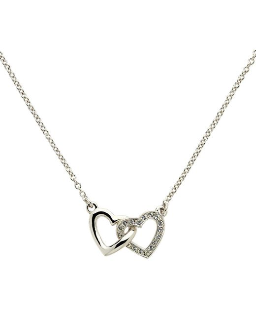 Melissa Odabash - Metallic Rhodium Plated Swarovski Crystal Double Heart Necklace - Lyst