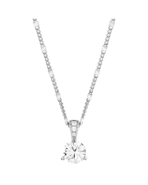Swarovski - Metallic Solitaire Round Crystal Pendant Necklace - Lyst