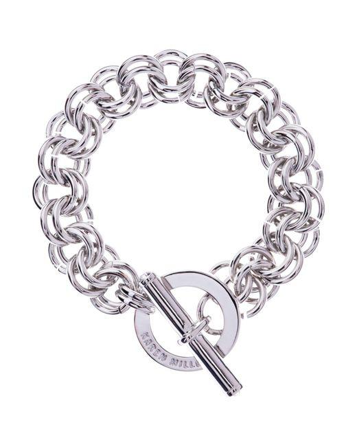 Karen Millen | Metallic Encrusted Bar & Hoop Bracelet | Lyst