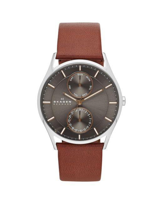Skagen - Metallic Skw6086 Men's Holst Single Chronograph Leather Strap Watch for Men - Lyst