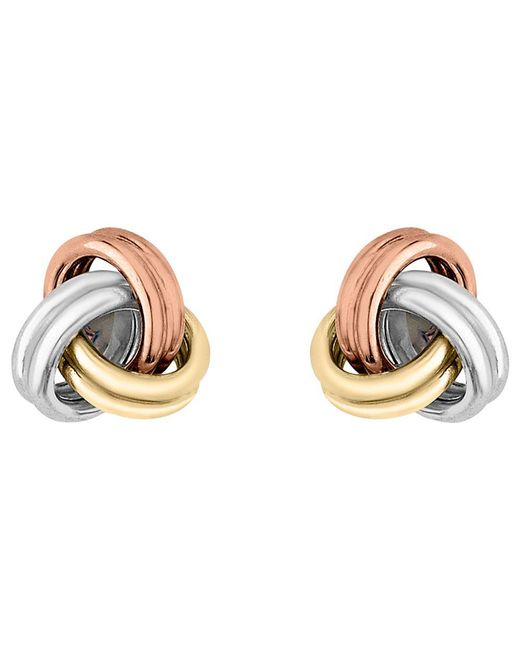 Ib&b - Yellow 9ct 3 Colour Gold Knot Stud Earrings - Lyst