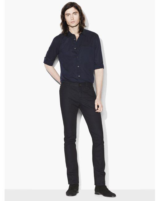 John Varvatos | Blue Slim Fit Rolled Sleeve Shirt for Men | Lyst