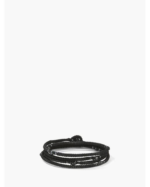 John Varvatos | Black Waxed Knotted Cord Skull Wrap Bracelet for Men | Lyst