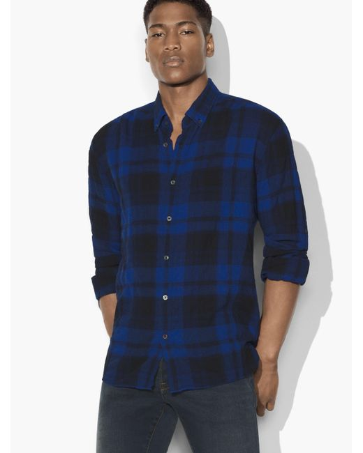 John Varvatos | Blue Window Plaid Shirt for Men | Lyst