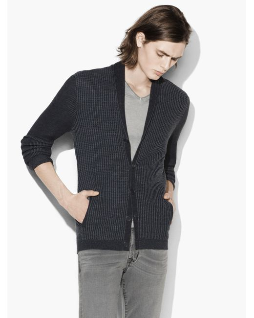 John Varvatos | Multicolor Plated Waffle Shawl Collar Cardigan With All-needl for Men | Lyst
