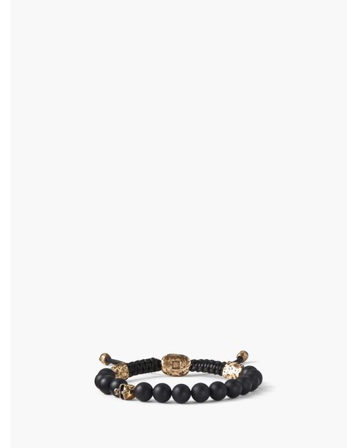 John Varvatos - Black 8mm Brass Skull With Color Beads for Men - Lyst
