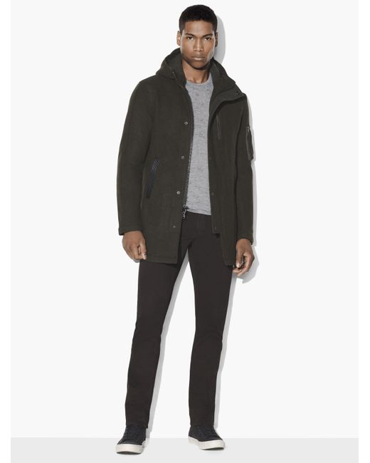 John varvatos Military Hooded Parka in Black for Men | Lyst