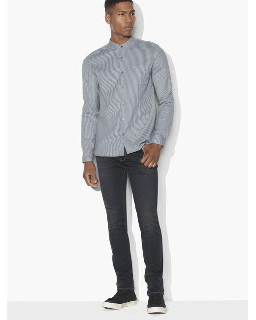 John Varvatos | Gray Bohemian Banded Collar Shirt for Men | Lyst