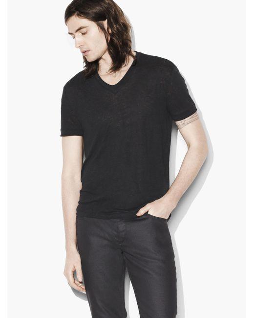 John Varvatos - Black Linen V-neck for Men - Lyst