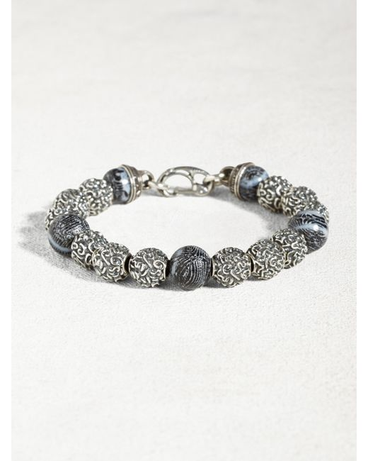 John Varvatos   Metallic Sterling Silver Bracelet With Coral Beads for Men   Lyst