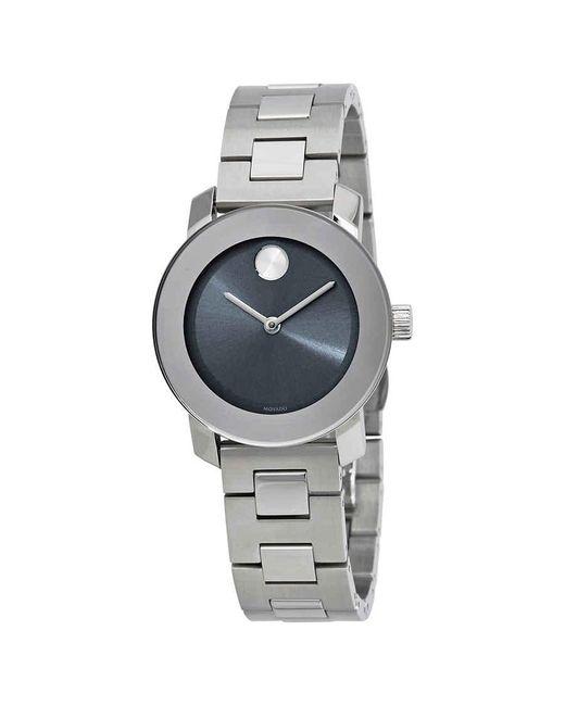 Movado Metallic Bold Blue Steel Dial Ladies Watch