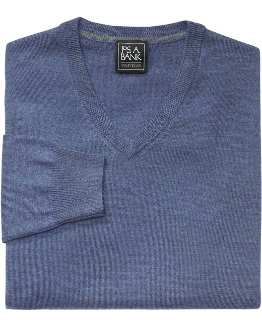 Jos. A. Bank   Blue Traveler Collection Merino Wool V-neck Sweater- Big & Tall for Men   Lyst