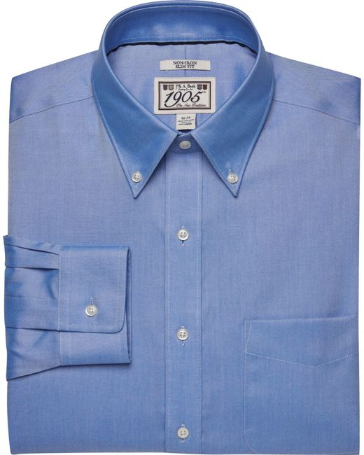 Jos a bank 1905 slim fit button down dress shirt in blue for Joseph banks dress shirts