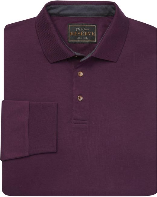 Jos. A. Bank - Purple Reserve Collection Traditional Fit Interlock Long-sleeve Polo Shirt - Big & Tall for Men - Lyst