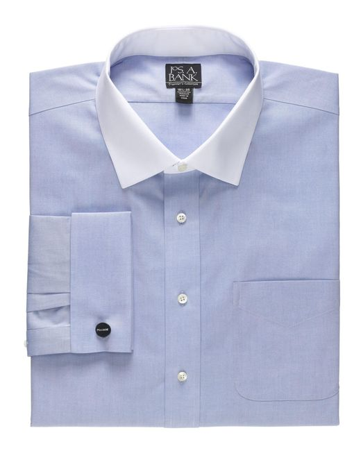 Jos a bank traveller collection tailored fit contrast for Spread collar dress shirt without tie