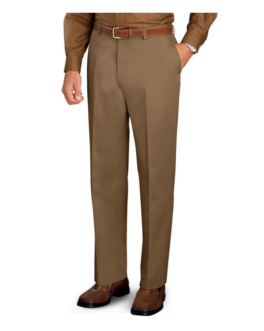 Jos. A. Bank - Brown Traveler Collection Tailored Fit Flat Front Twill Pants for Men - Lyst