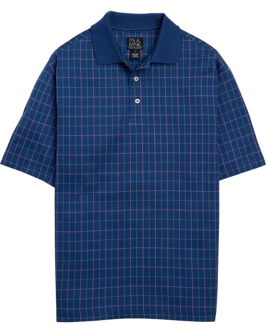 Jos. A. Bank - Blue Classic Collection Traditional Fit Grid Pattern Polo for Men - Lyst
