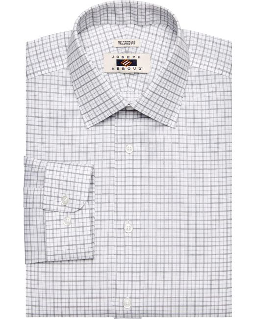 Jos a bank joseph abboud tailored fit grey white for Tailoring a dress shirt