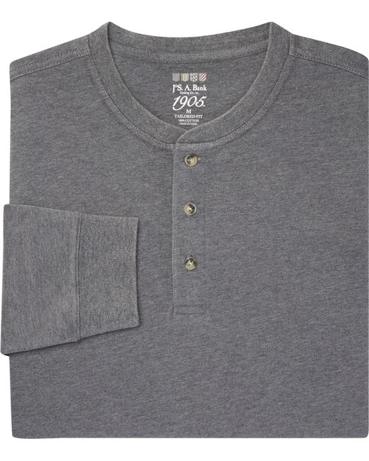 Lyst jos a bank 1905 collection tailored fit henley for Jos a bank tailored fit vs slim fit shirts