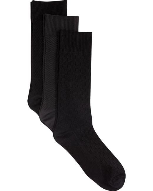Jos. A. Bank - Black Patterned Dress Socks, 3-pack for Men - Lyst