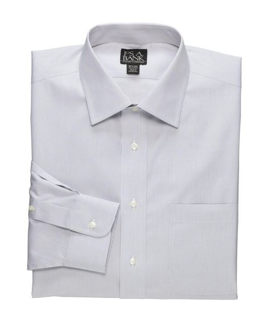 Jos. A. Bank - Gray Traveler Collection Traditional Fit Spread Collar Fine Line Dress Shirt - Big & Tall for Men - Lyst